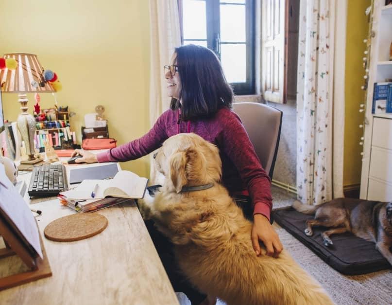 PAT, educadora canina, en casa con sus perros