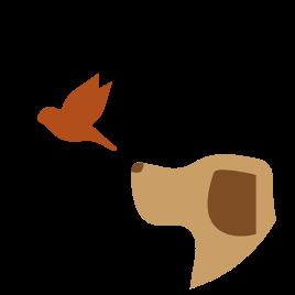 Ilustración Perro y pájaro